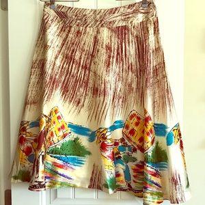 NWT unique Custo silk-like A-line skirt size 2